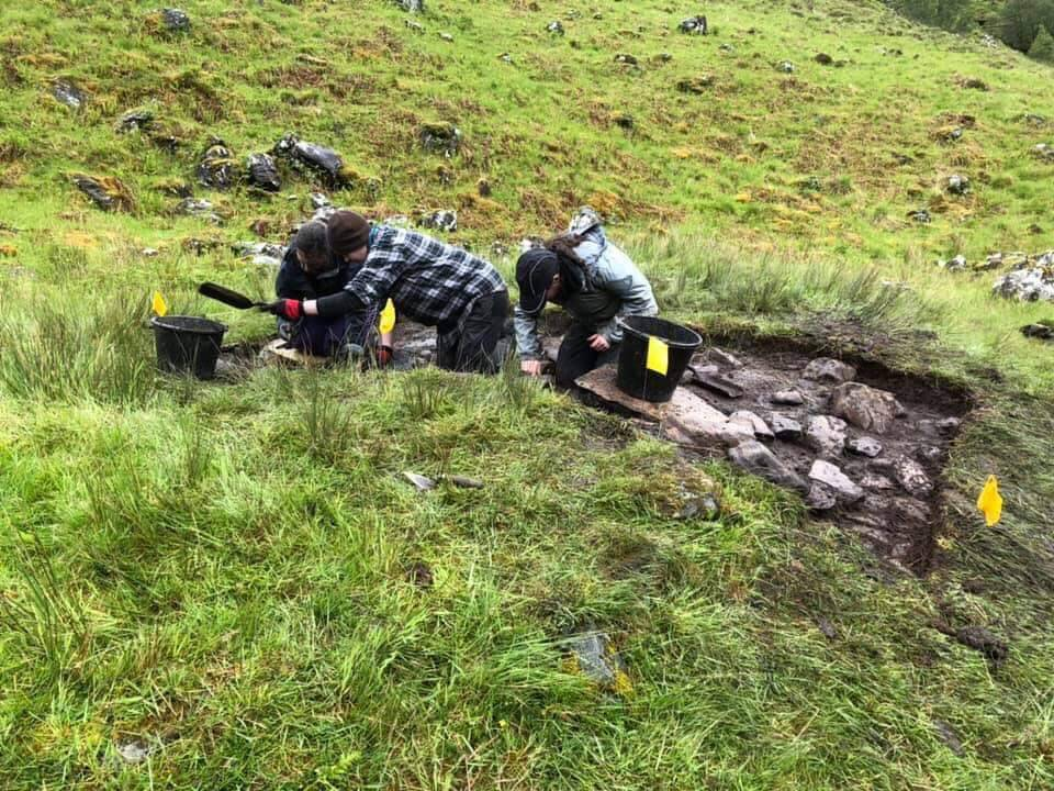 Liz and other Thistle Camp volunteers taking part in the archaeological dig at Glenshiel