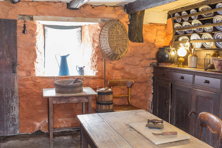 The beautifully restored kitchen of Moirlanich Longhouse