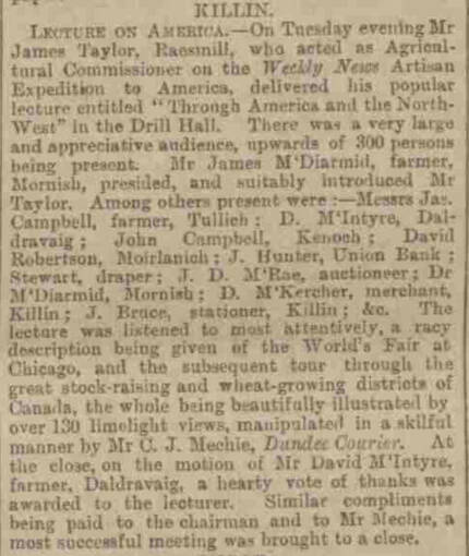 A newspaper report of a lecture given in Killin about a tour through America. David Robertson from Moirlanich is noted as having attended.