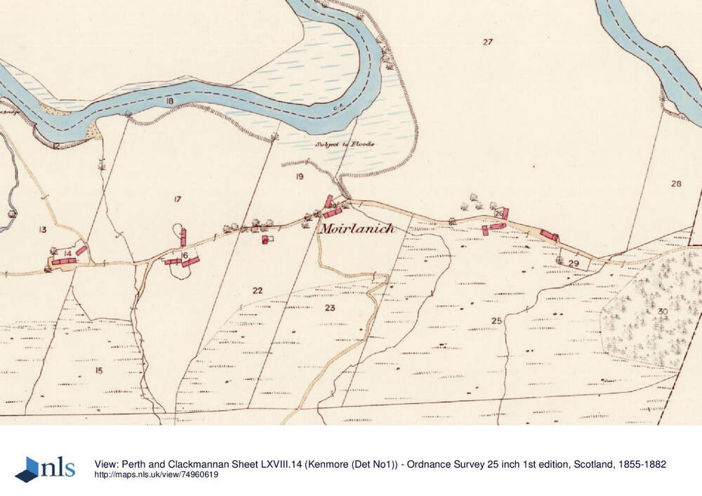 Ordnance Survey map of Glen Lochay in 1867 showing a line of settlements. The river and floodplains can be clearly seen at the top of the map.