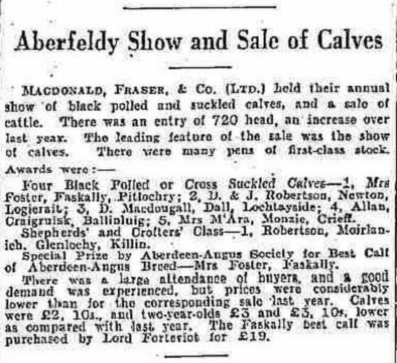 A newspaper report of the Aberfeldy Show. The Robertsons won a prize in the Shepherds' and Crofters' Class.