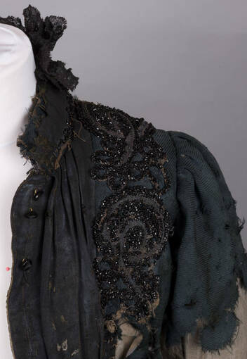 A bodice trimmed with lace