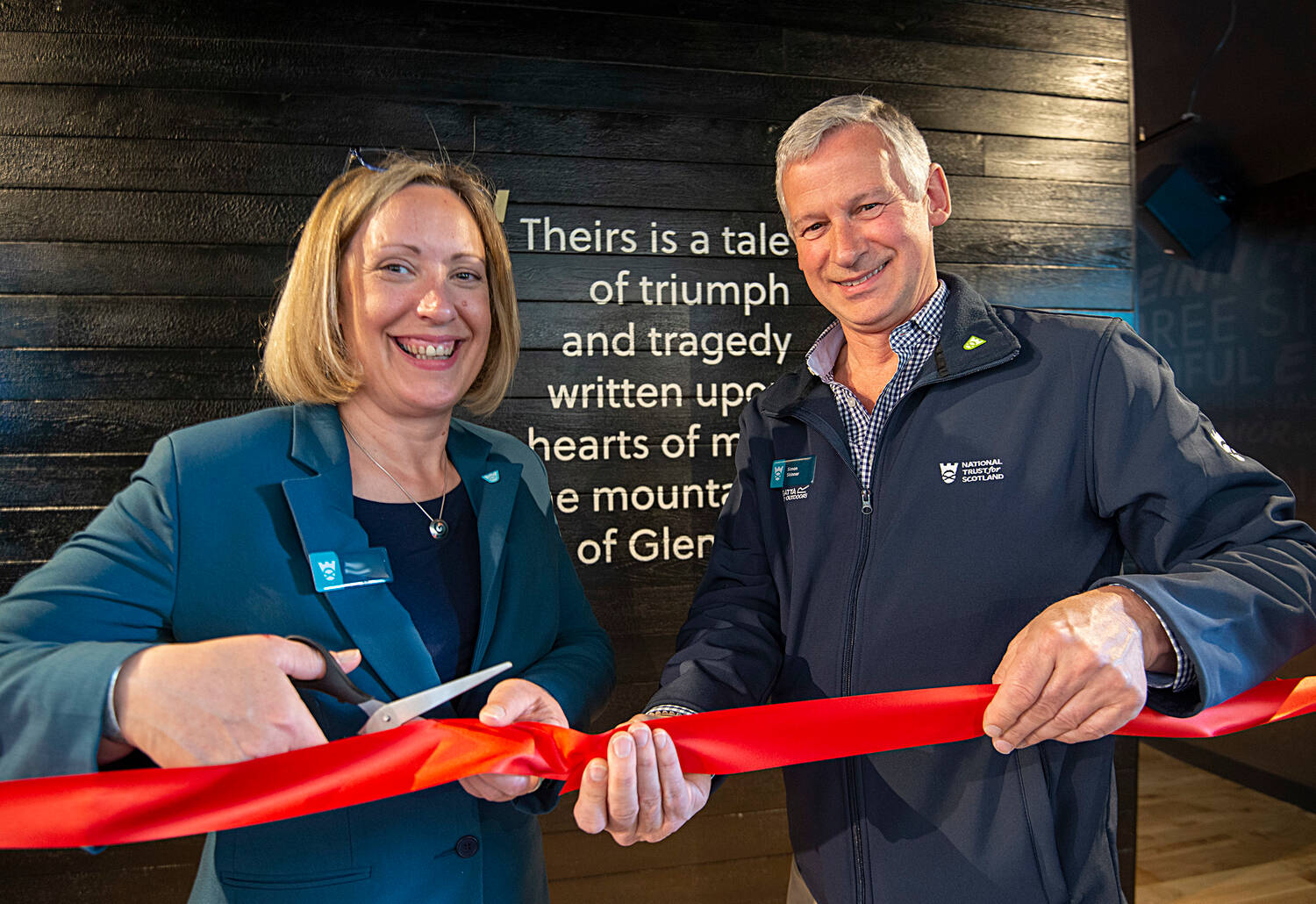 Clea Warner, General Manager, North West & Islands with Simon Skinner, Chief Executive for the Trust officially open the new Glencoe Visitor Centre.