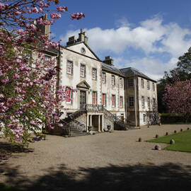 Large cherry trees, laden with blossom, stand at either side of Newhailes House