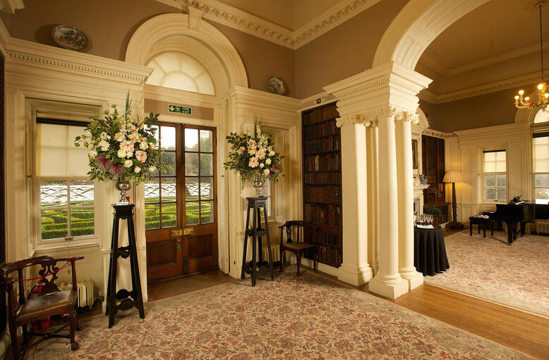 Pollok House library decorated for a wedding