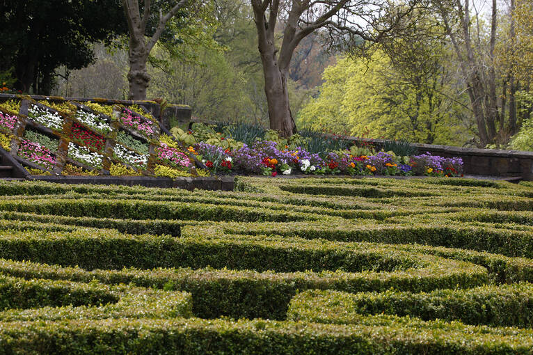 The parterre garden outside the Library at Pollok House