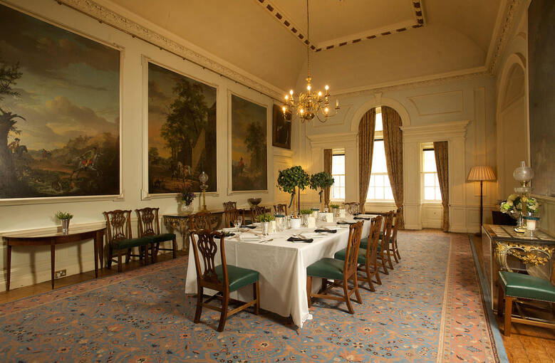 The dining room at Pollok House, decorated for a wedding.