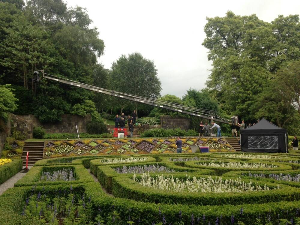 Pollok House parterre garden, with the film crew in action