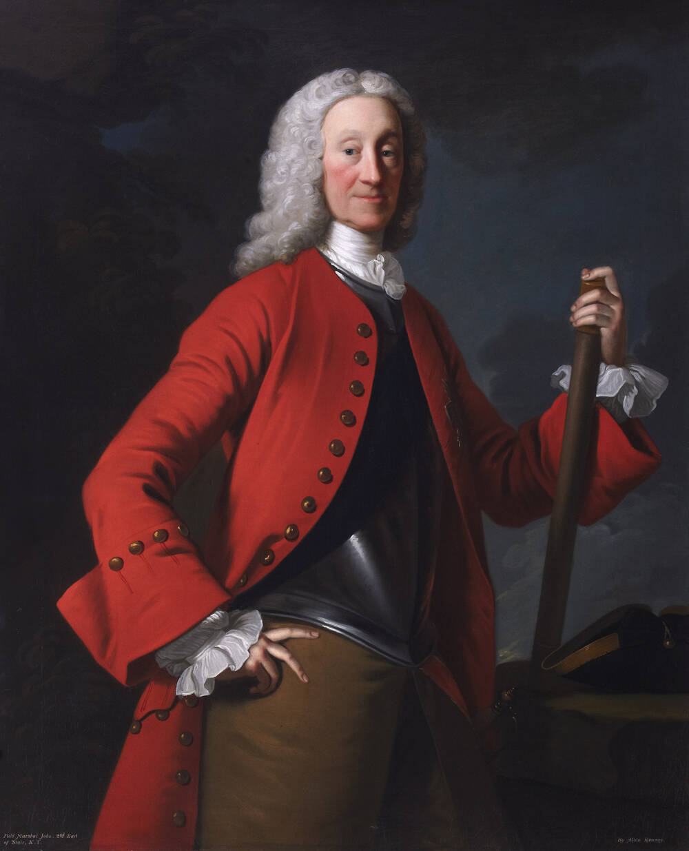 A large portrait of a man dressed in military uniform, with a long red coat. He holds a long sheathed sword in his left hand, and wears a Georgian-style white wig.