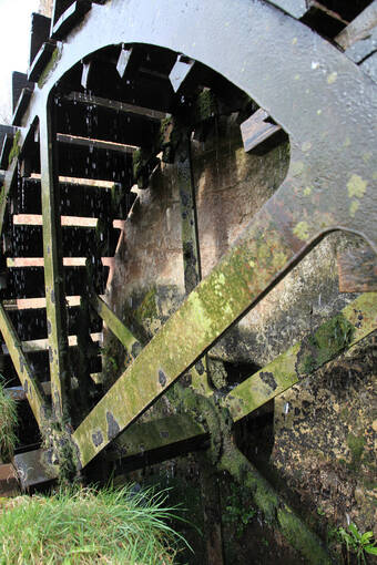 A close-up of the water wheel in action at Preston Mill