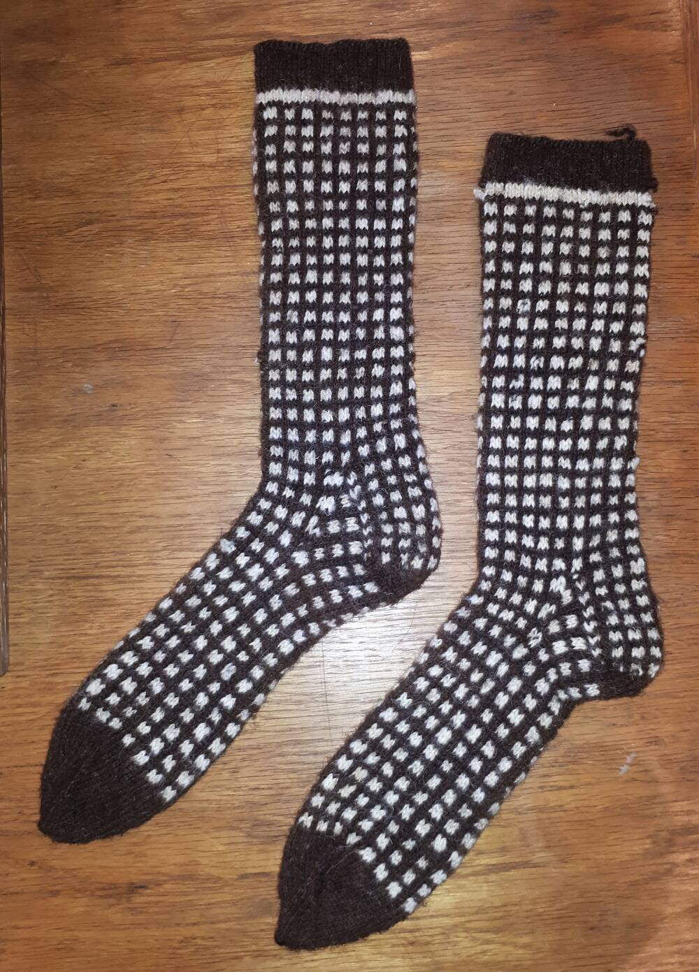 These socks were made on St Kilda from the wool of native sheep