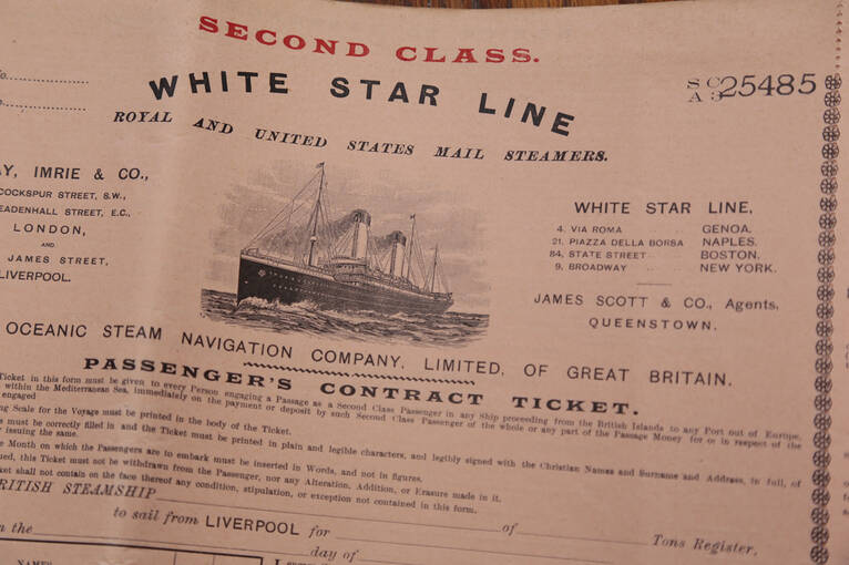 A passenger ticket from the White Star Line Shipping Agency which operated out of Smail's