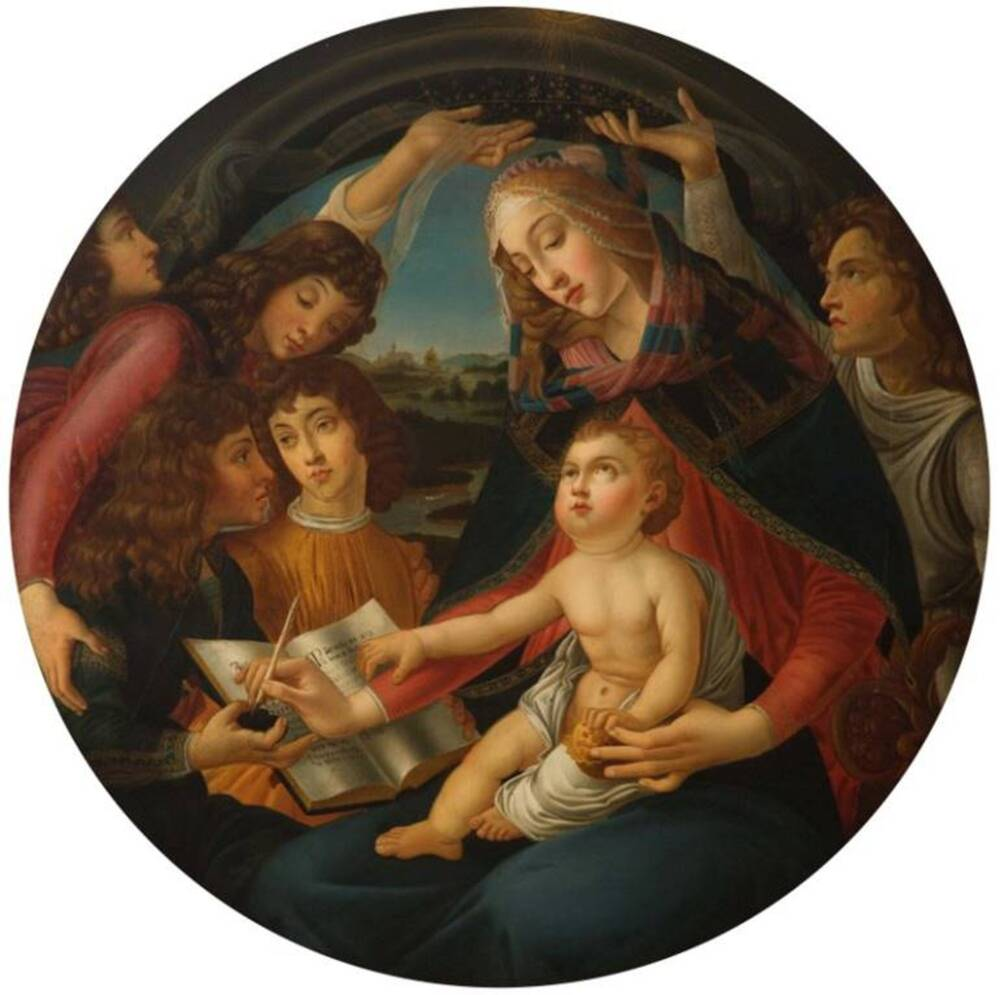 A round oil painting of the Virgin Mary with the baby Jesus on her lap. The pair are surrounded by long-haired attendants, who may be angels or saints.