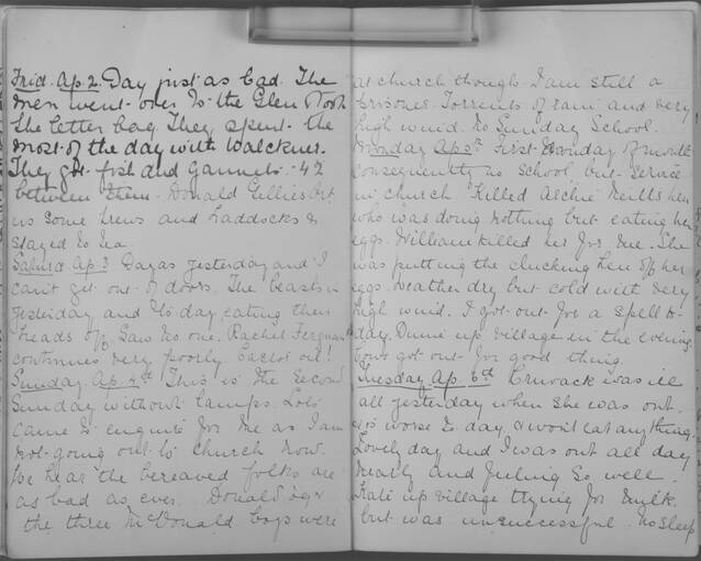 The diary of Alice MacLachlan, from 2 - 6 April 1909