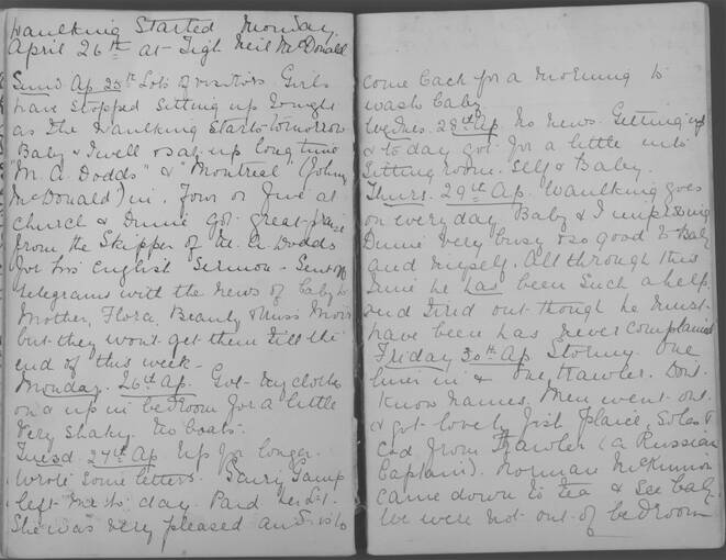The diary of Alice MacLachlan, 25 - 30 April 1909