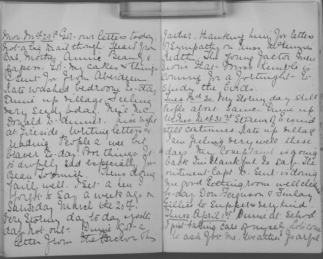 The diary of Alice MacLachlan, 29 to 31 March 1909