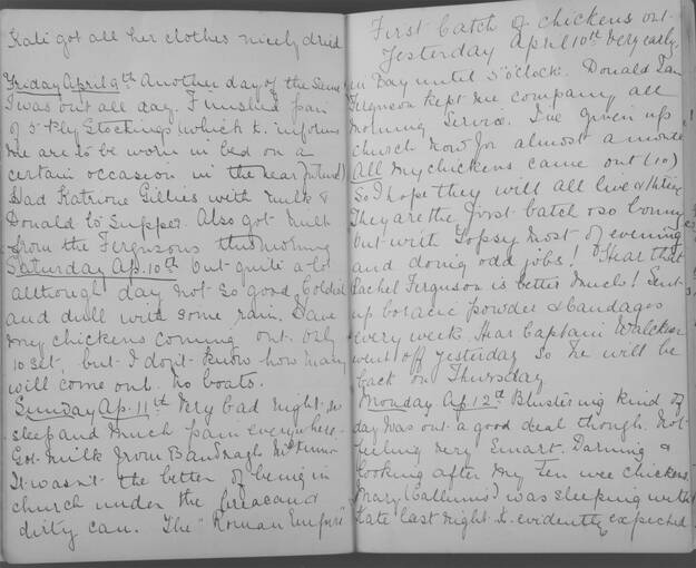The diary of Alice MacLachlan, from 9 - 12 April 1909
