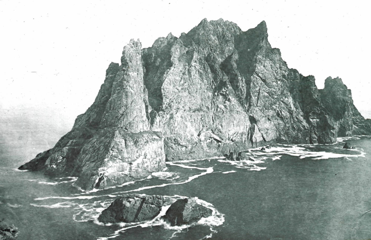 Glass plate negative of Boreray in the St Kilda archipelago, #192 © National Trust for Scotland, St Kilda