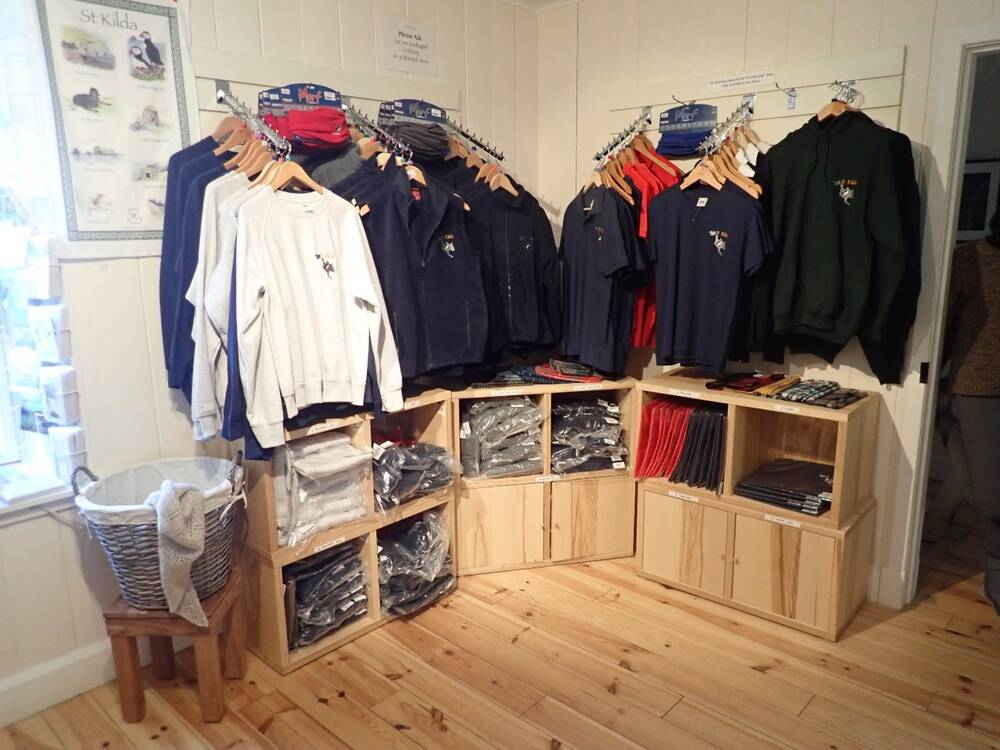 The range of clothes (mostly jackets and fleeces) available for sale in the St Kilda shop
