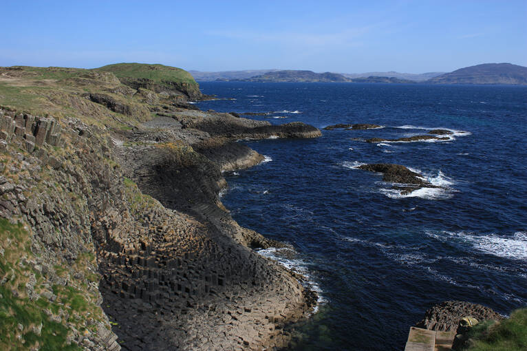 The rugged coastline of Staffa