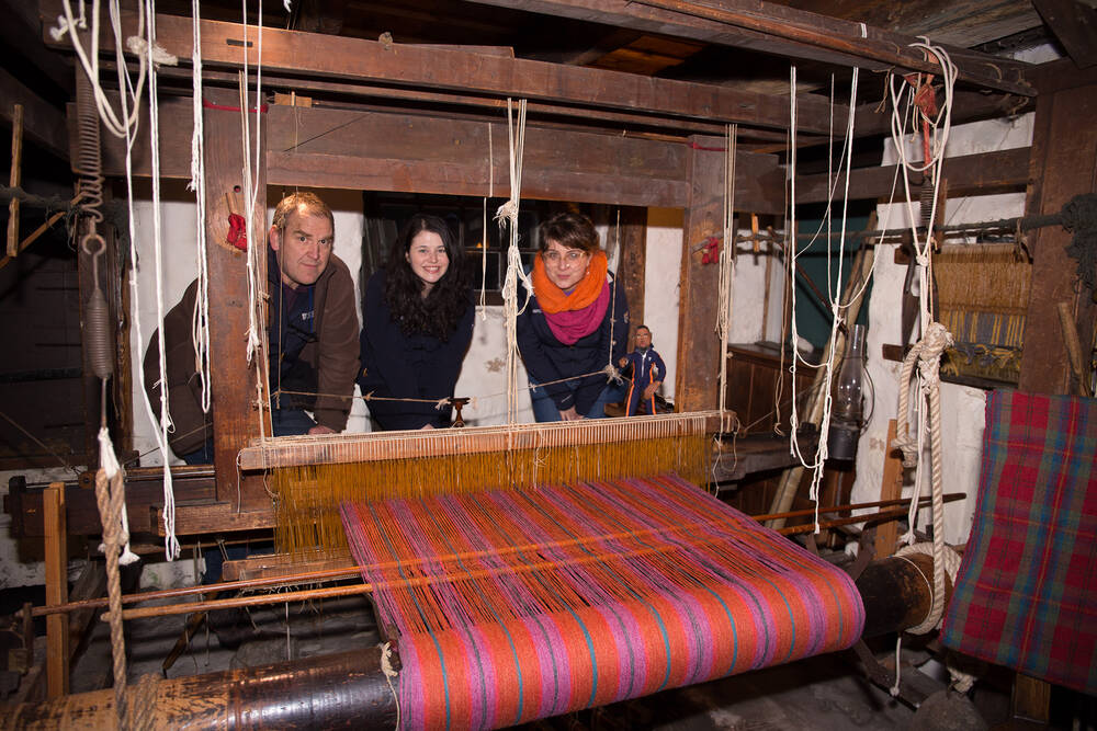 Team West in the Loom Room at Weaver's Cottage