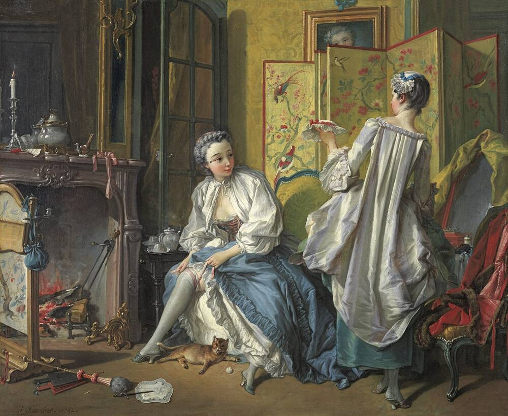 A painting of two wealthy women dressing in a rather cluttered, but grand, room. One lady sits on a chair and rolls a stocking up her leg, raising her thick blue silk skirts to do so. Another lady stands in front of her, wearing a loose, long silk jacket. A painted room screen stands just behind them.