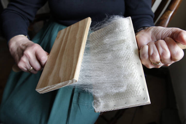 A woman carding wool