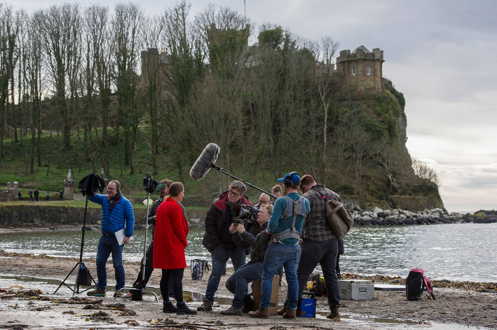 Filming on the beach at Culzean