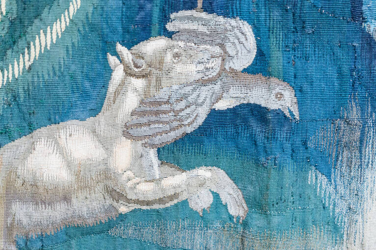 Detail of a hunting dog catching a bird before cleaning