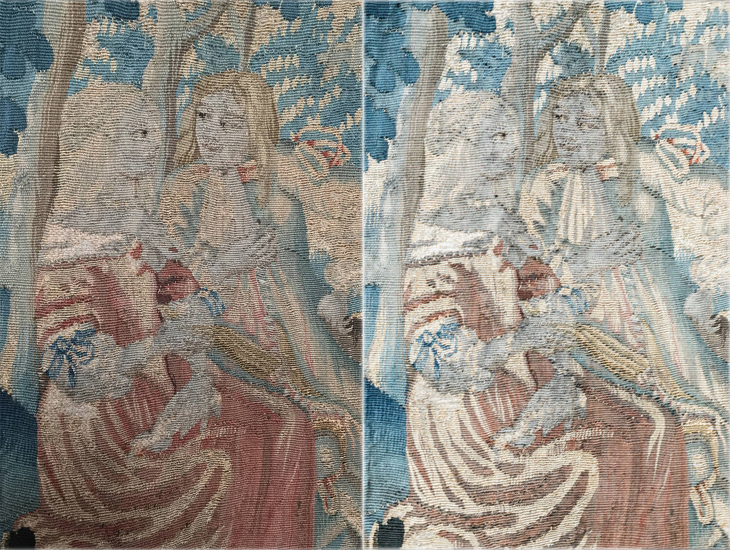 Detail showing two lovers in a forest before and after cleaning