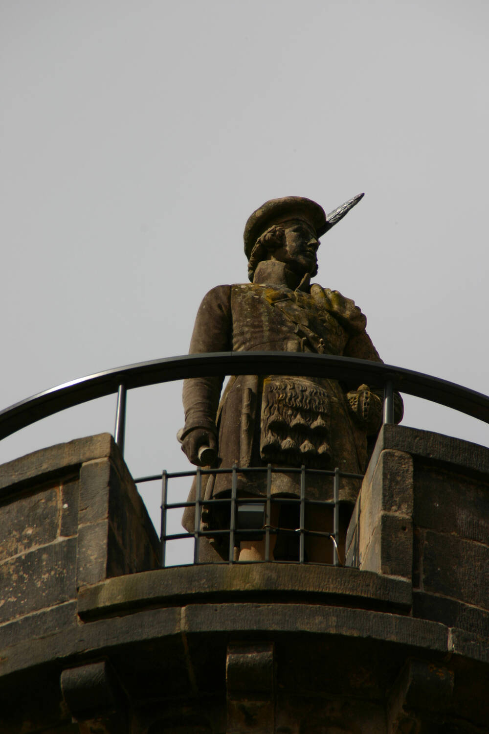 The statue thought to be Bonnie Prince Charlie on top of the monument