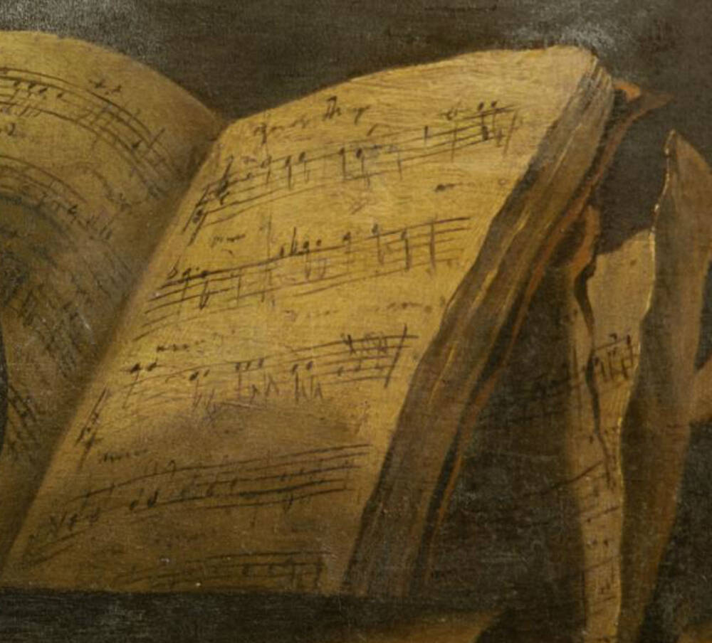 Close up of a musical score in a book depicted in an oil painting