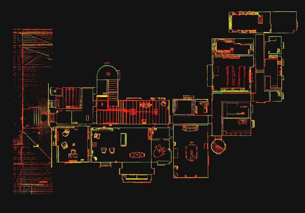 Digital scan of a floor plan of a building, with the outlines in different colours.