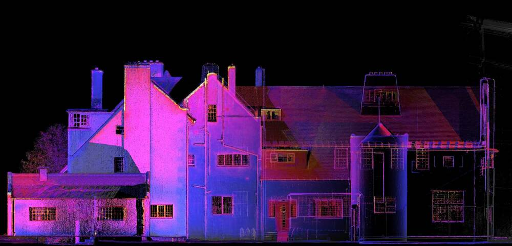 South elevation of the Hill House, with a pinkish thermal overlay.