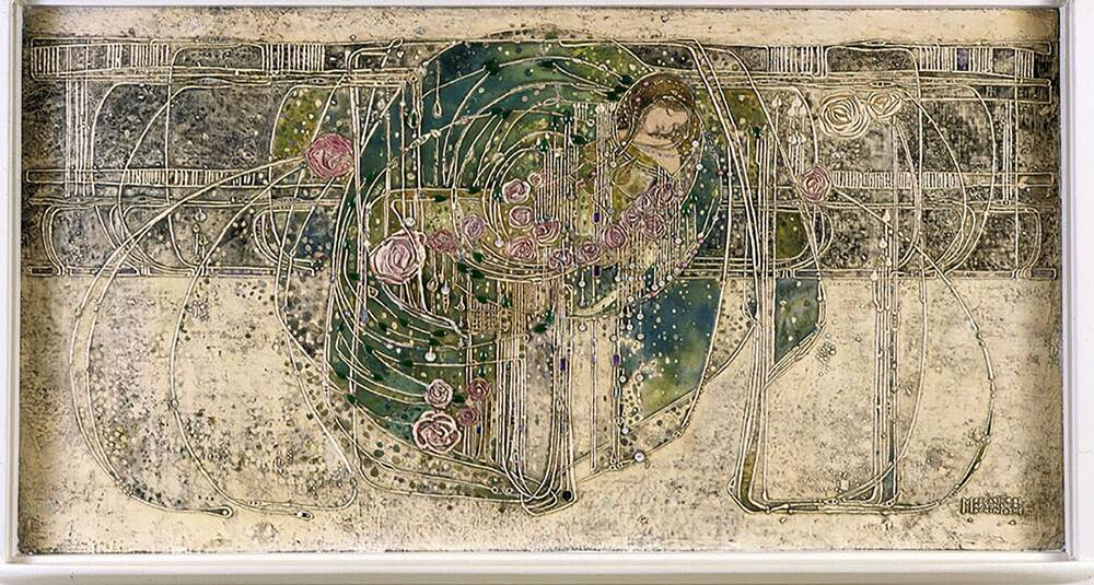 The sleeping princess gesso panel above the fireplace, designed by Margaret Macdonald