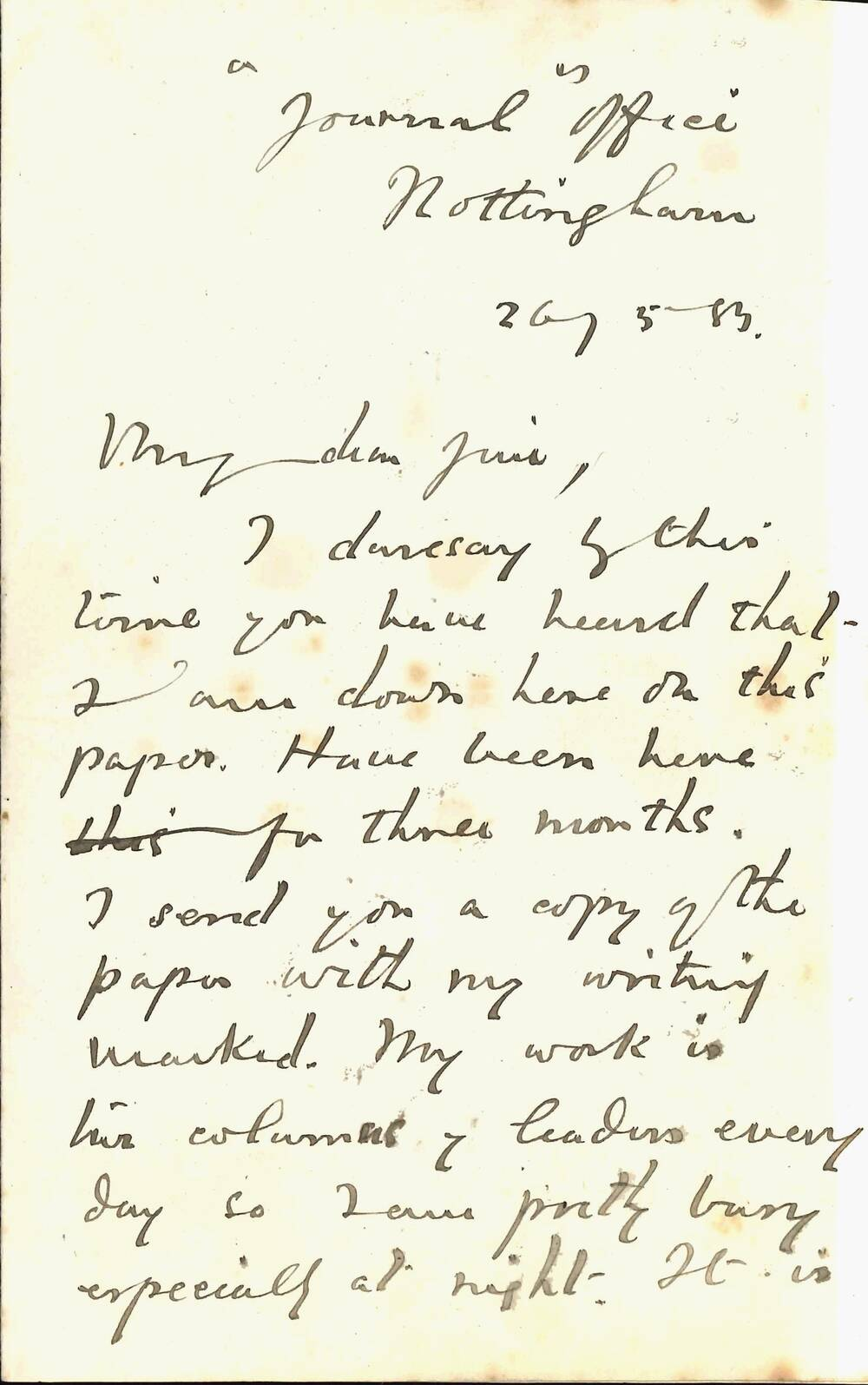 First page of a handwritten letter from 1883.