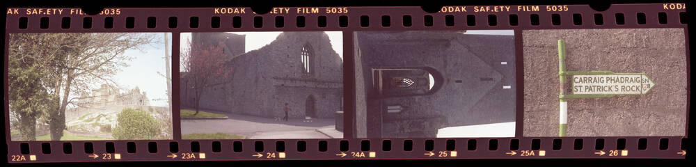 Strip of photographic negative with various images of Ireland