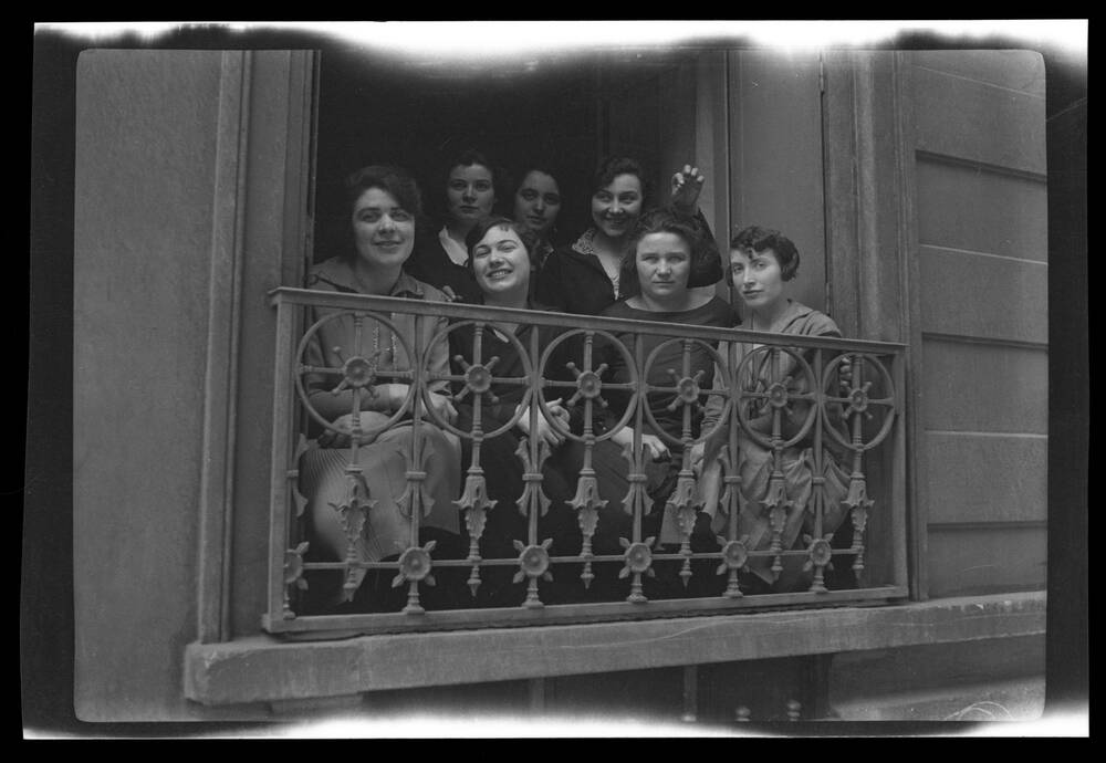 A group of unidentified women snapped by Margaret at her hotel on Rue Stanislas, Paris