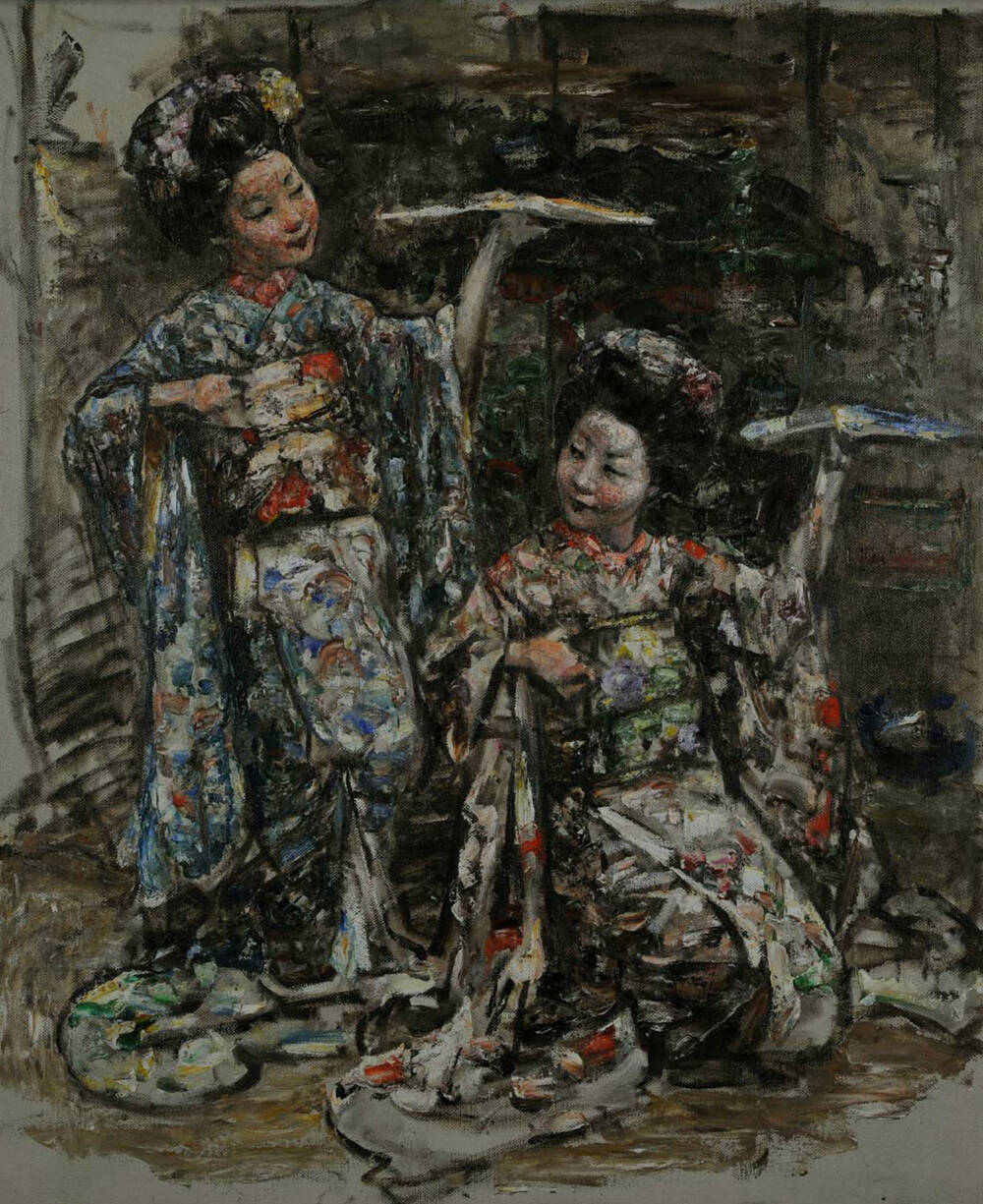 An oil painting of the photo of 2 Japanese women dancing with fans, the 1 on the left standing and the other crouching.