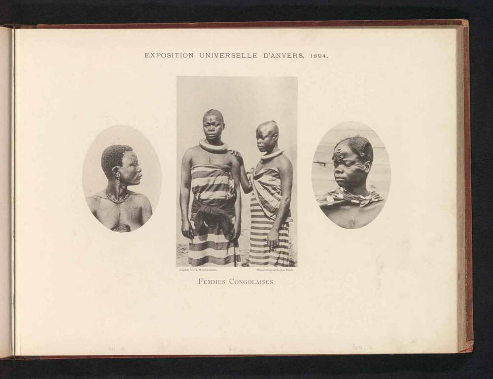 3 black and white photos of Congolese women in an album. The flanking images are busts; the middle one has 2 women standing.