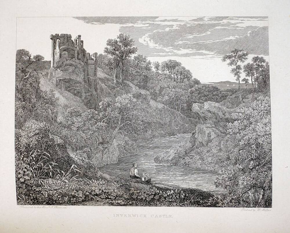 Inverwick Castle – an etching by William Miller after a painting by Rev John Thomson