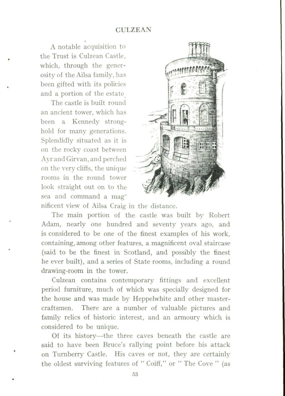 A page from the 1945 Annual Report detailing the Trust's acquisition of Culzean Castle