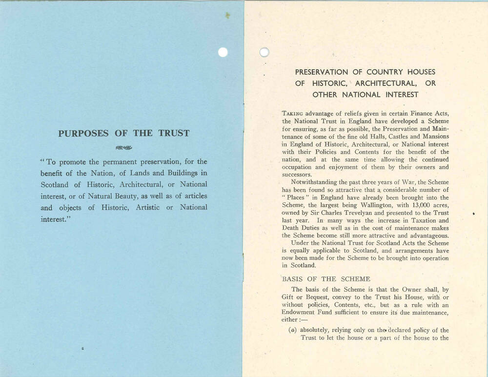 The inside cover and first page of a leaflet outlining the details of the Country House Scheme