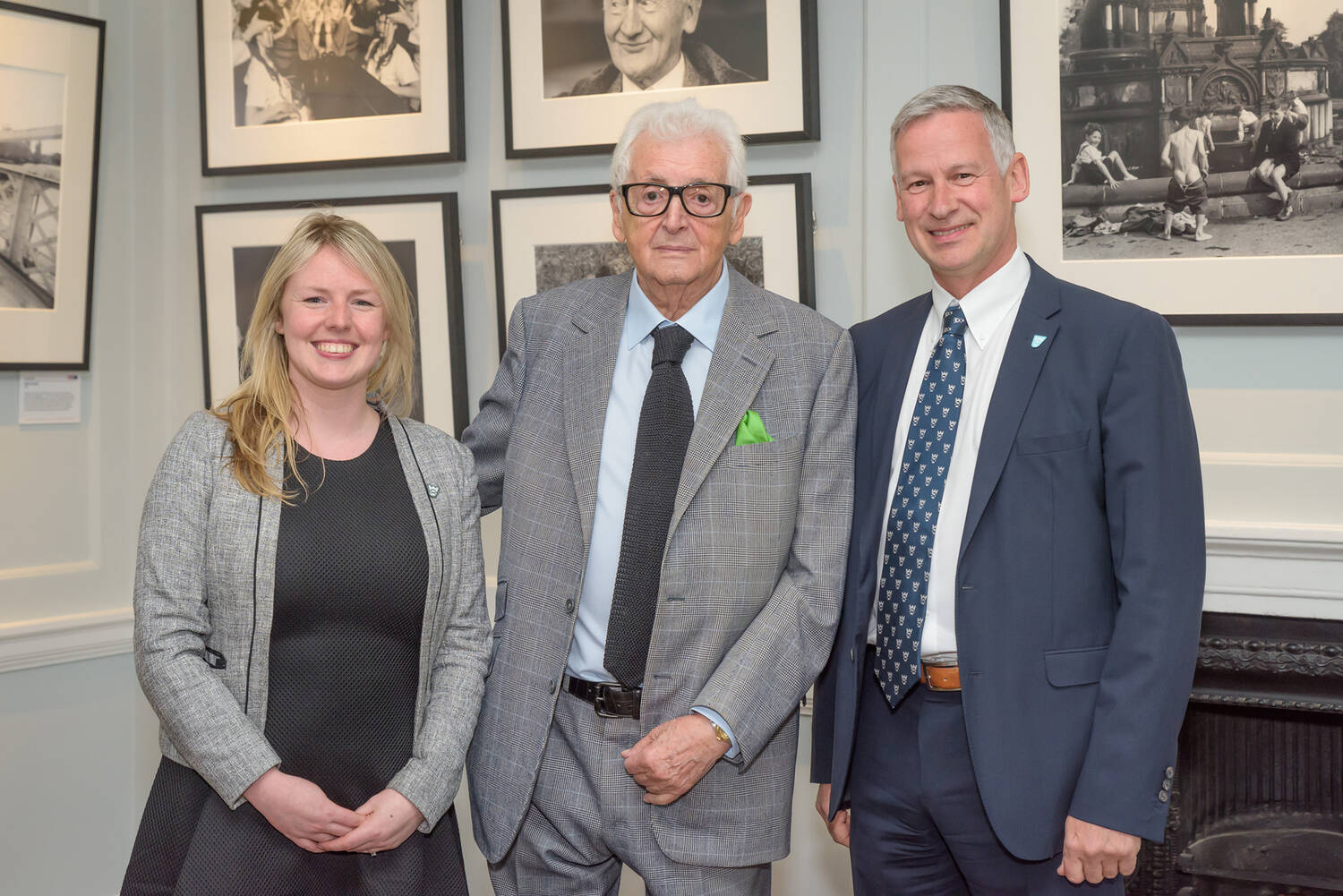 Operations Manager Karen Cornfield (L) and Chief Executive Simon Skinner (R) welcome Harry Benson to Pollok House.