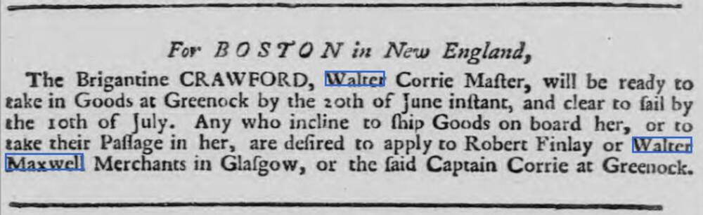 A newspaper advert from the Caledonian Mercury, 12 June 1755, where Walter Maxwell is listed as a merchant