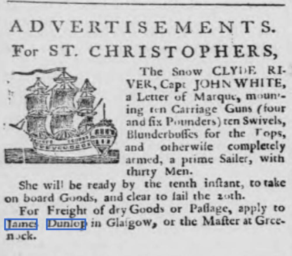 An advert from a newspaper in the 18th century with a picture of a galleon in the top left.