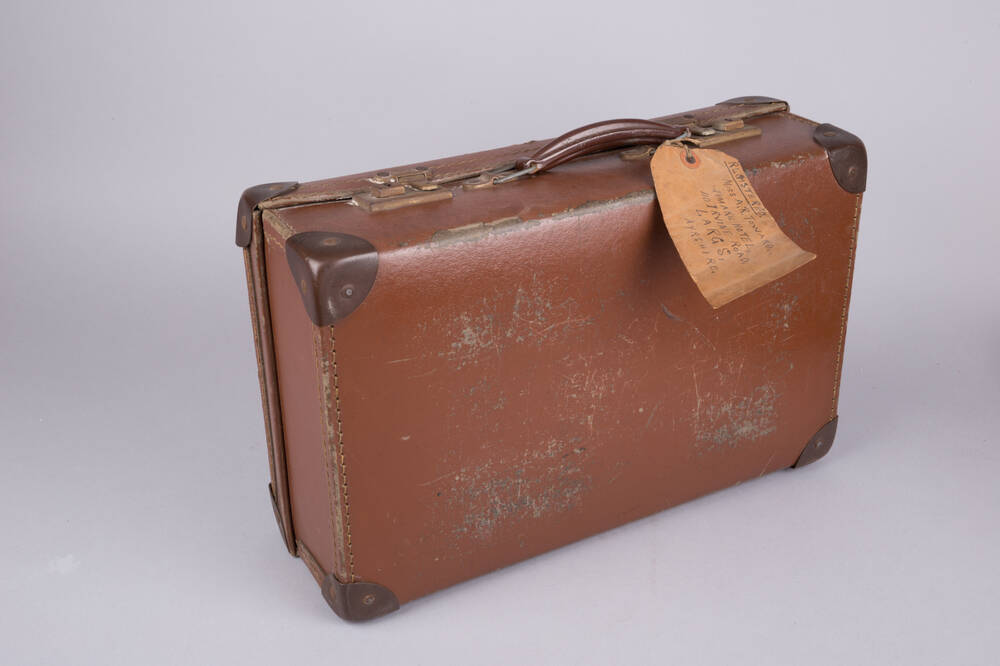 Miss Toward's suitcase – the handwritten label shows her holiday address in Largs