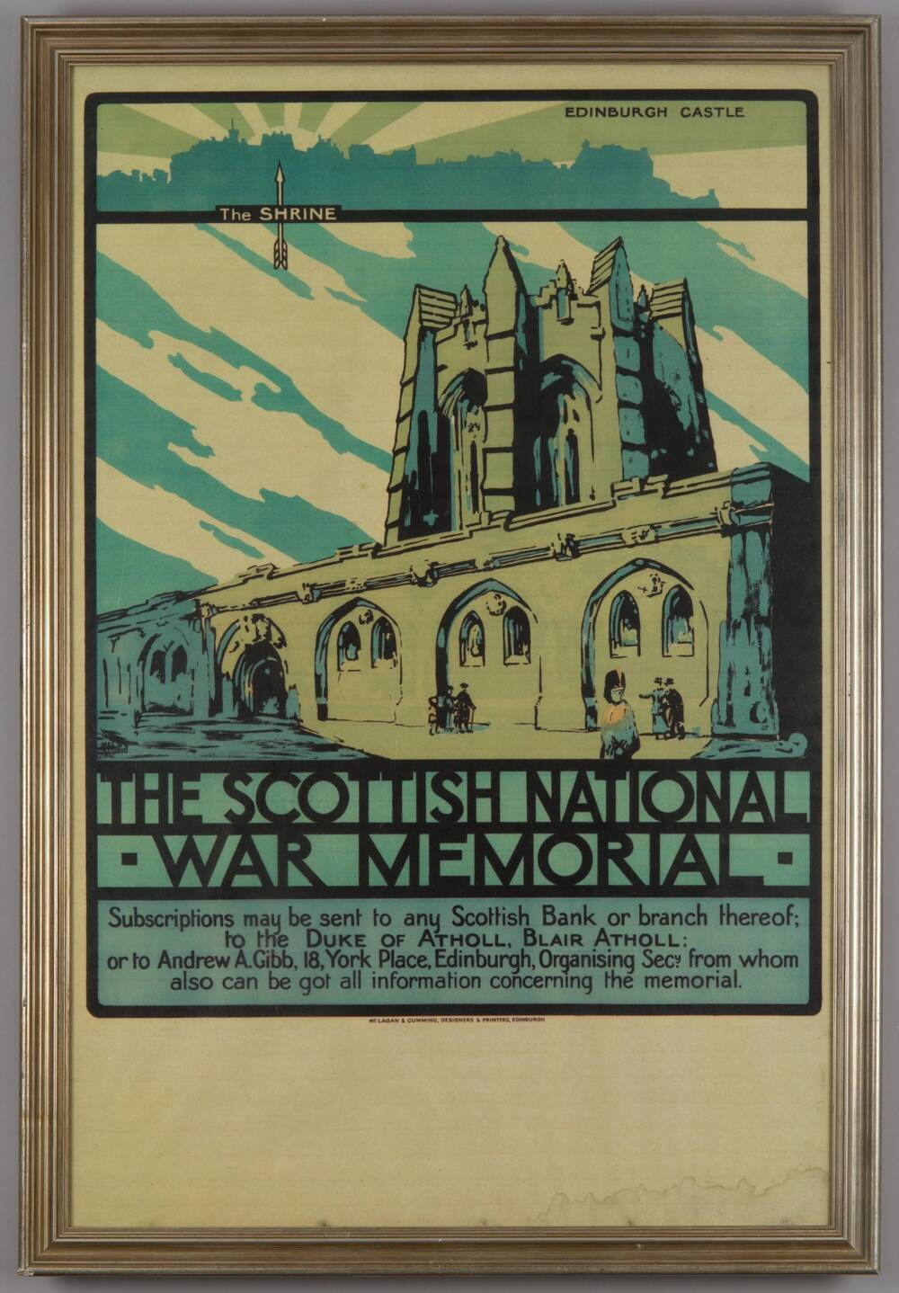 A poster for a Scottish National War Memorial, showing what it might look like.