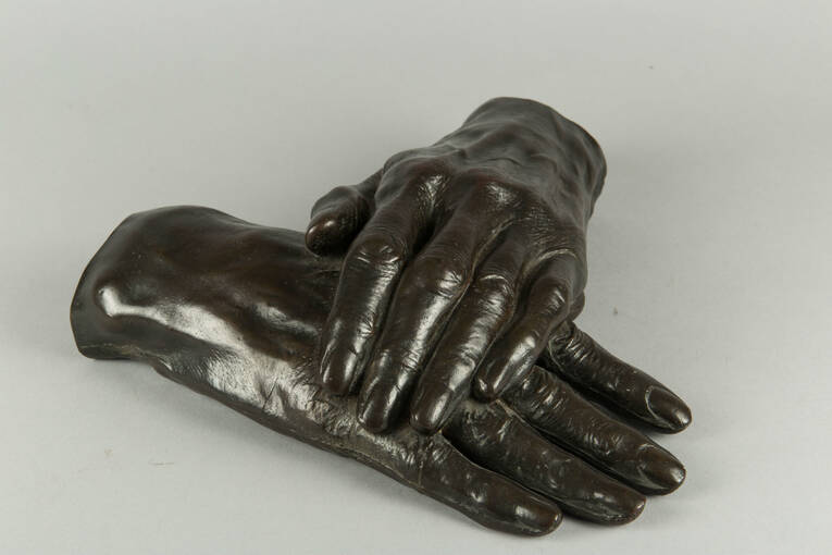 A pair of bronze hands found at Thomas Carlyle's Birthplace