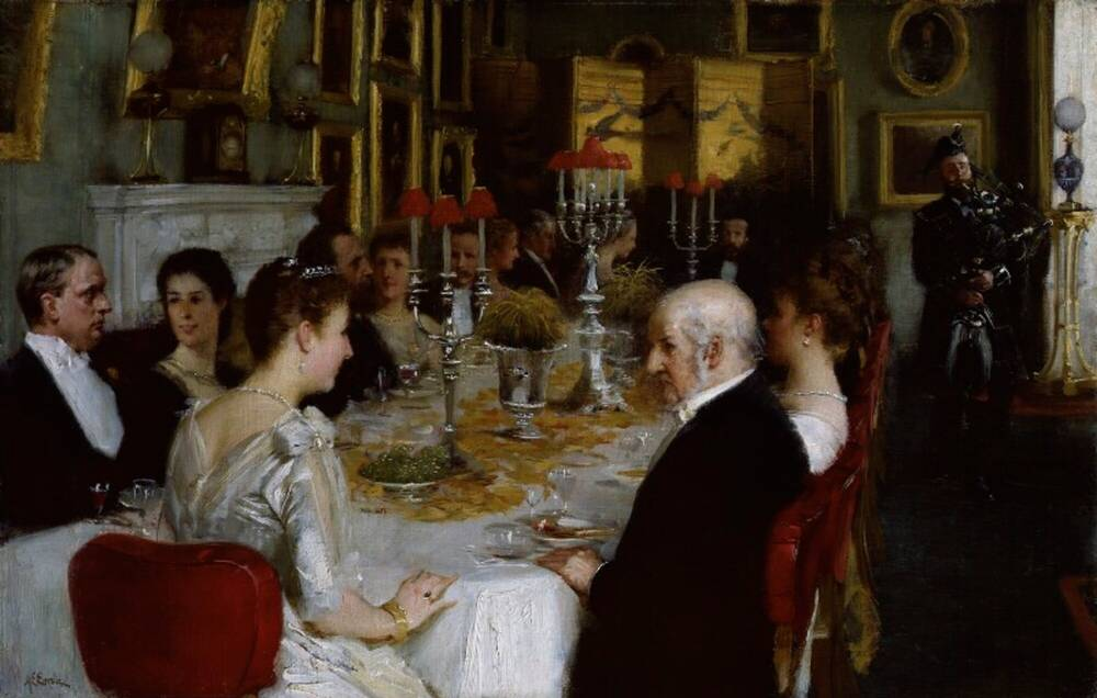 A painting of a dinner party. It shows 18 people in Victorian dinner costume sitting around a table with a white table cloth and silver candlesticks. A bagpiper plays in the background.